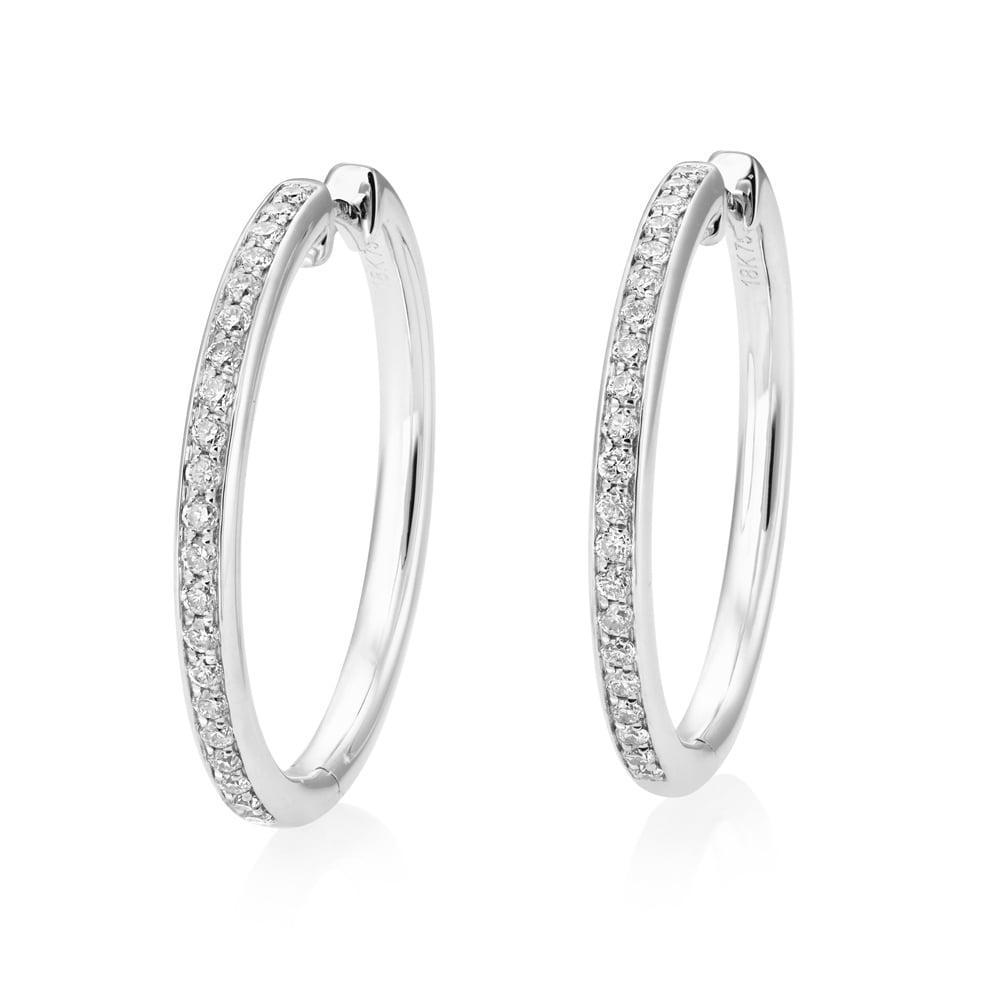 78902e2b56300 18ct White Gold Diamond Hoop Earrings