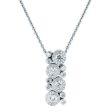 18ct White Gold Diamond Multi Cluster Vintage Design Necklace