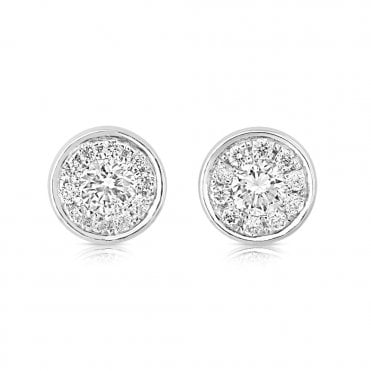 18ct White Gold Diamond Set Cluster Stud Earrings