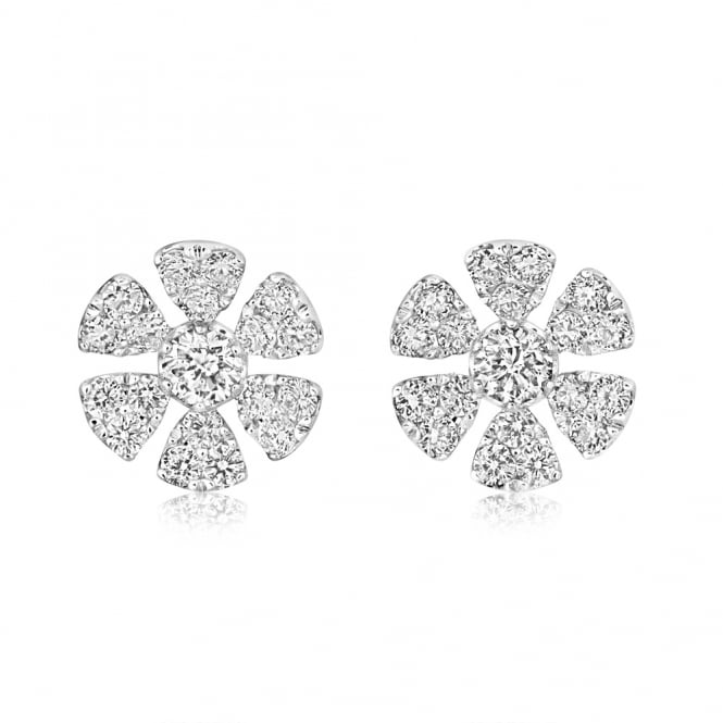 Berry's 18ct White Gold Diamond Set Daisy Stud Earrings