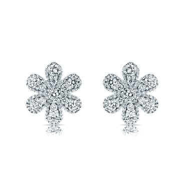 18ct White Gold Diamond Set Flower Stud Earrings
