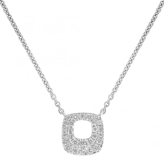 Berry's 18ct White Gold Diamond Set Rounded Square Necklace