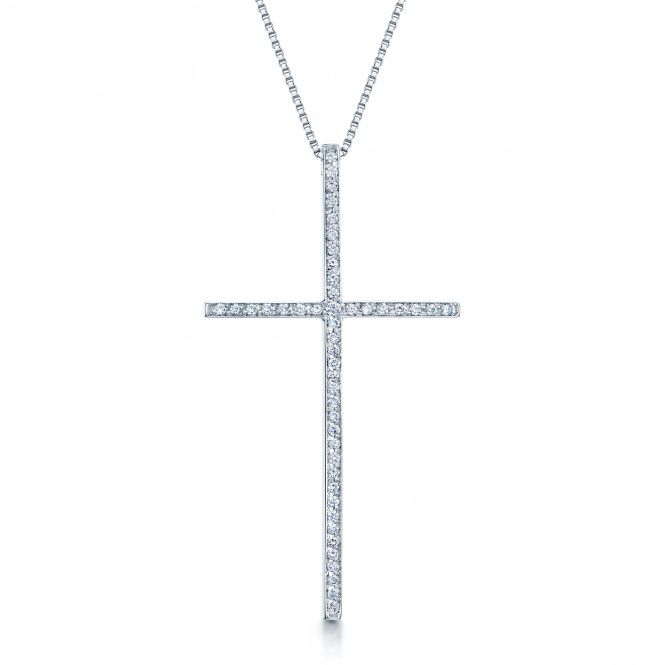 Berry's 18ct White Gold Diamond Set Slim Cross