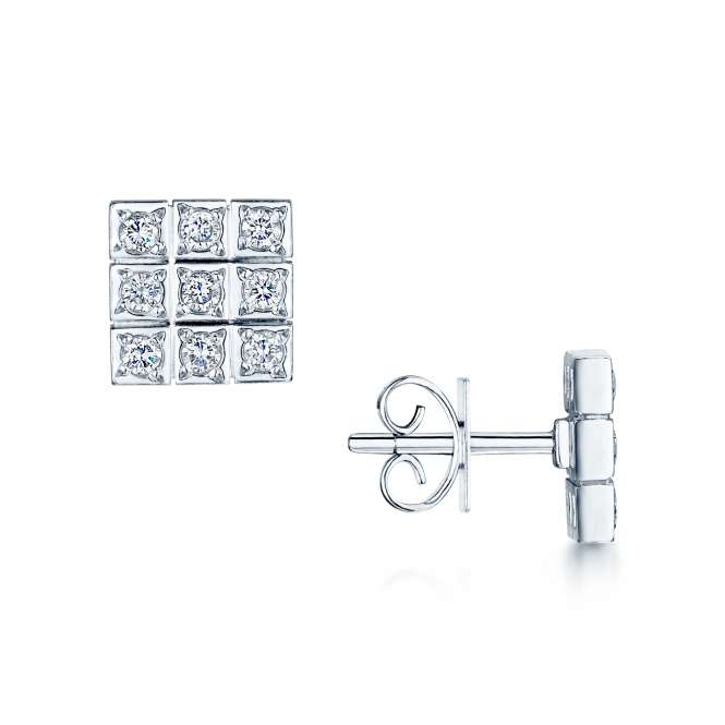 Berry's 18ct White Gold Diamond Set Square Stud Earrings