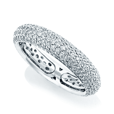 18ct White Gold Domed Diamond Pave Set Eternity Ring