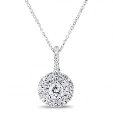 18ct White Gold Double Halo Diamond Necklace