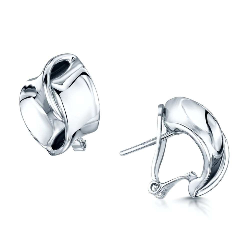 Berry S 18ct White Gold Double Ribbon Stud Earrings
