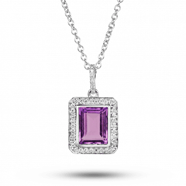 18ct White Gold Emerald Cut Amethyst and Diamond Pendant
