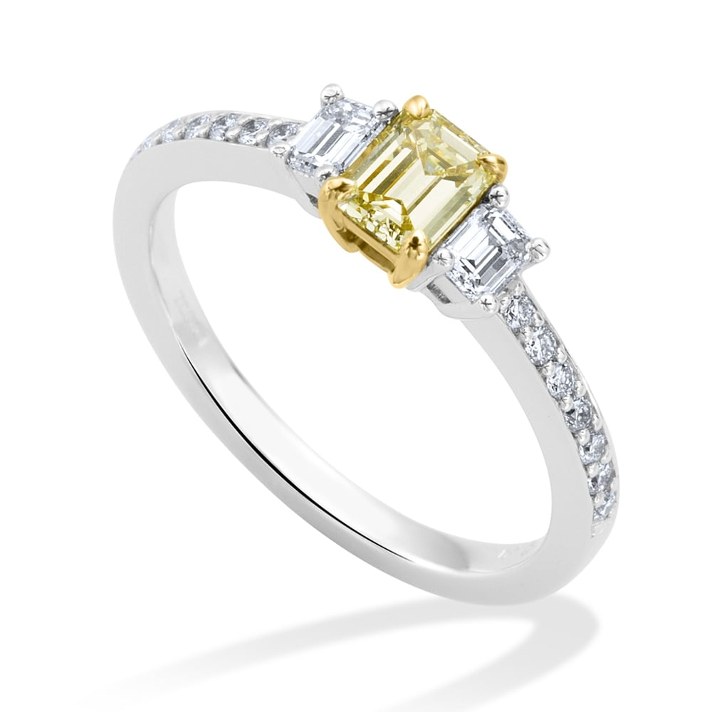 d3d0a868dca47 Berry s 18ct White Gold Emerald Cut Three-Stone Yellow Diamond Ring