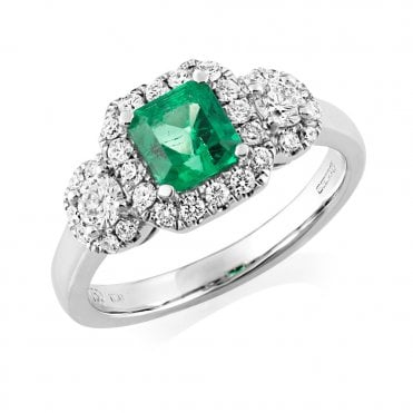 18ct White Gold Emerald & Diamond Three Stone Cluster Ring