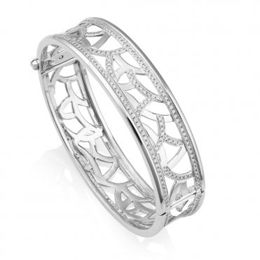 18ct White Gold Fancy Design Diamond Set Cuff Bangle