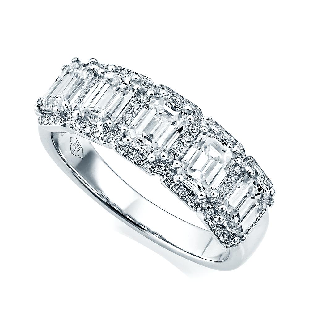Berry S 18ct White Gold Five Stone Emerald Cut Diamond
