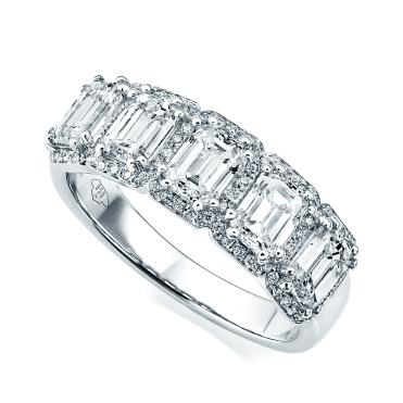18ct White Gold Five-Stone Emerald Cut Diamond Half Eternity Ring