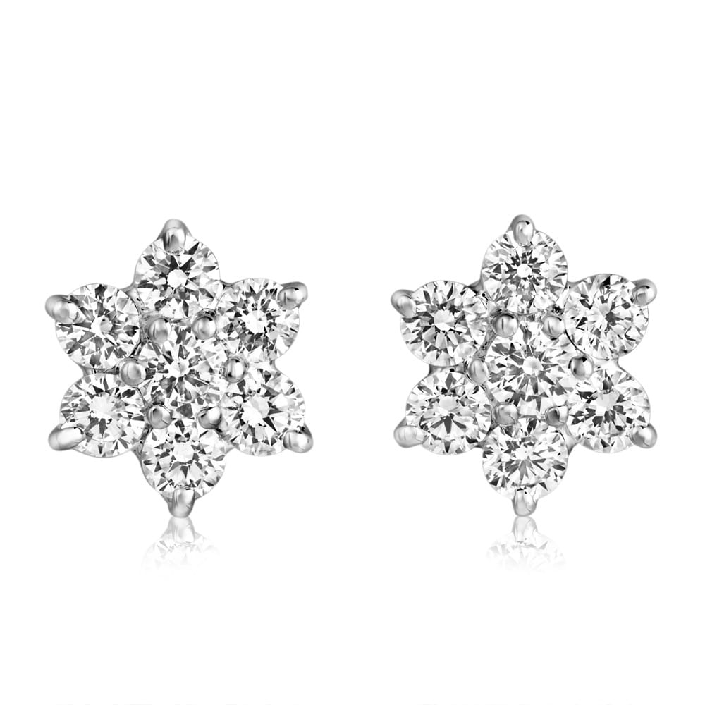 Berry\'s 18ct White Gold Flower Design Diamond Cluster Stud ...