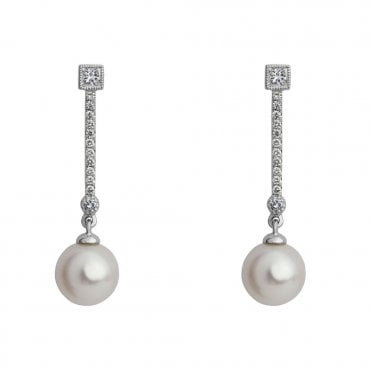 18ct White Gold Freshwater Pearl & Diamond Drop Earrings