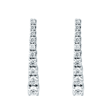 18ct White Gold Graduating Claw Set Diamond Drop Earrings