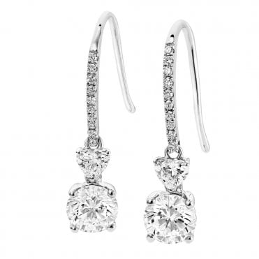 18ct White Gold Heart Shape & Brilliant Cut Diamond Drop Earrings