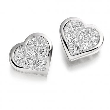18ct White Gold heart Shape Diamond Earrings