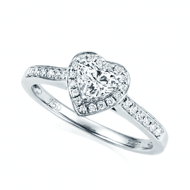 18ct White Gold Heart Shaped Diamond & Diamond Surround Engagement Ring