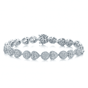 18ct White Gold Hearts And Circles Diamond Bracelet