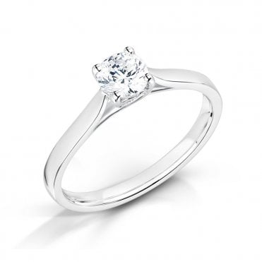 18ct White Gold Hidden Heart Diamond Engagement Ring