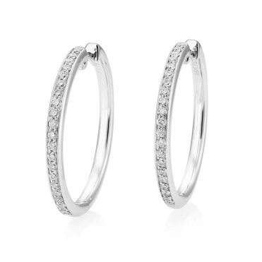 18ct White Gold Hoop Brilliant Cut Diamond Earrings