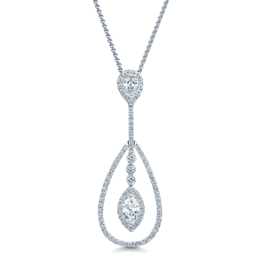18ct White Gold Long Drop Diamond Necklace