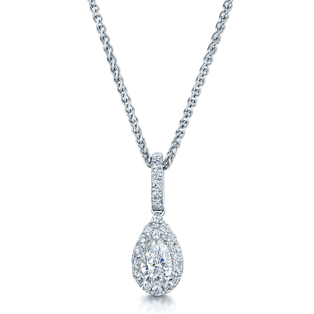 shaped pendant westmount double b exclusive products pear montreal quebec halo necklace diamond daisy