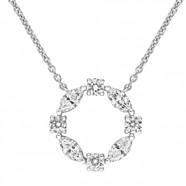 Berry's 18ct White Gold Marquise And Brilliant Cut Diamond Necklace