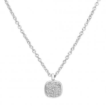 18ct White Gold Mini Cabochon Diamond Set Cluster Necklace