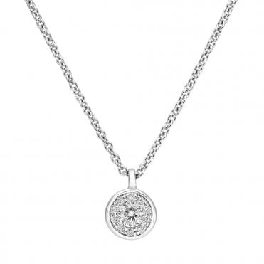 18ct White Gold Mini Circular Diamond Set Cluster Necklace