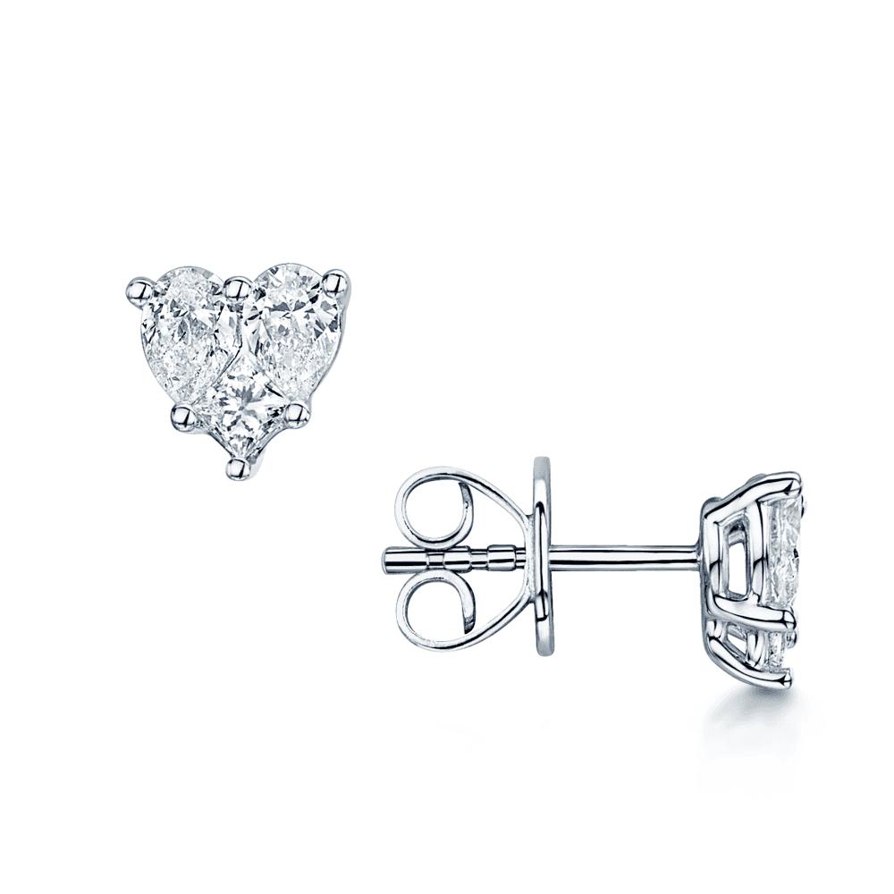 18ct White Gold Mixed Diamond Heart Shaped Stud Earrings
