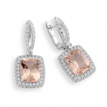 18ct White Gold Morganite And Diamond Drop Earrings