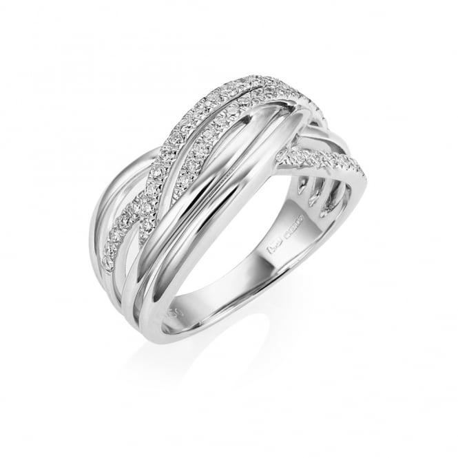 18ct White Gold Multi Strand Cross Over Diamond Ring Dxdm