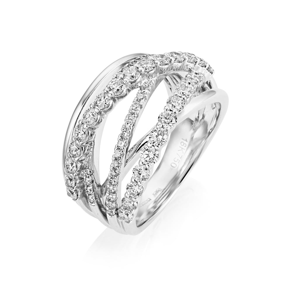 White Wedding Dress Gold Jewelry: 18ct White Gold Multi Strand Diamond Dress Ring From Berry