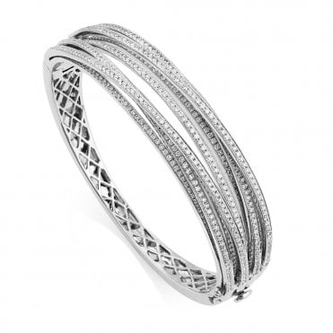 18ct White Gold Multi Strand Diamond Set Bangle