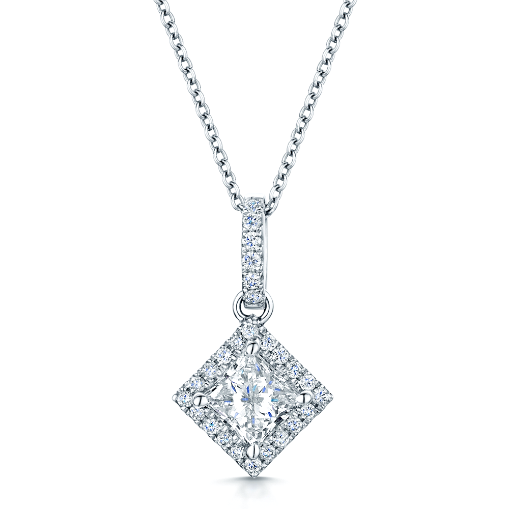 bale princess setting necklace solitaire pendant in diamond gold white single cut
