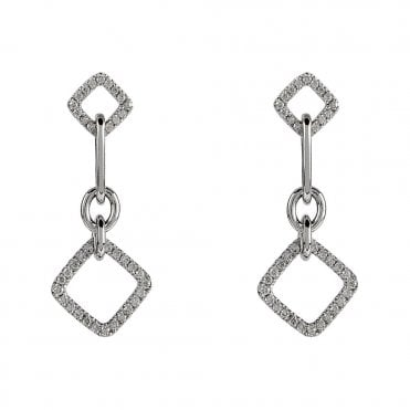18ct White Gold Open Square Diamond Drop Earrings