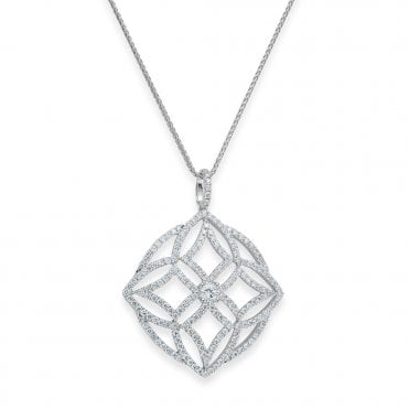 18ct White Gold Openwork Fancy Design Pave Set Diamond Necklace