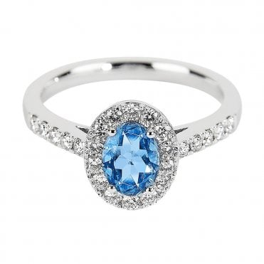 18ct White Gold Oval Aquamarine & Diamond Cluster Dress Ring