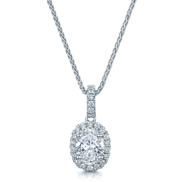 18ct White Gold Oval Diamond Cluster Set Pendant