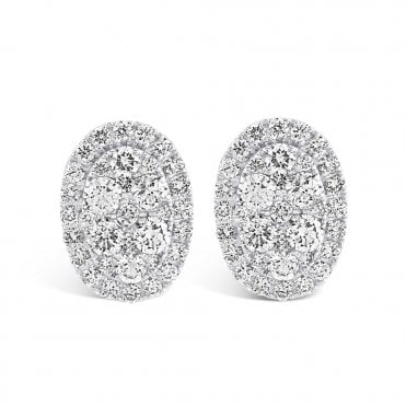 Berry's 18ct White Gold Oval Diamond Halo Earrings