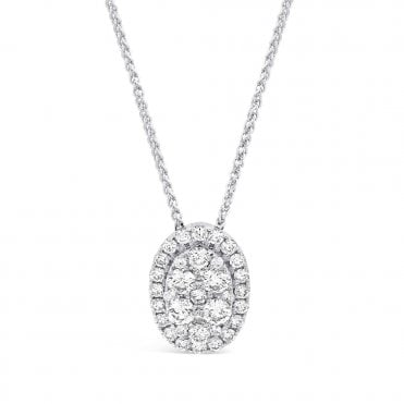 Berry's 18ct White Gold Oval Diamond Halo Necklace