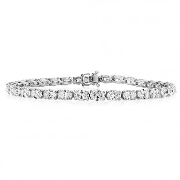 18ct White Gold Oval Diamond Line Bracelet