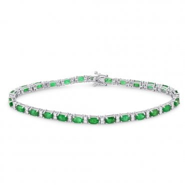18ct White Gold Oval Emerald & Diamond Set Bracelet