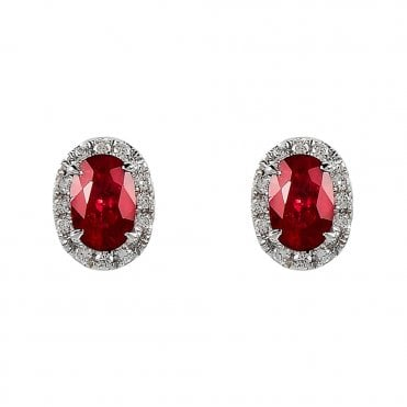 18ct White Gold Oval Ruby and Diamond Earrings