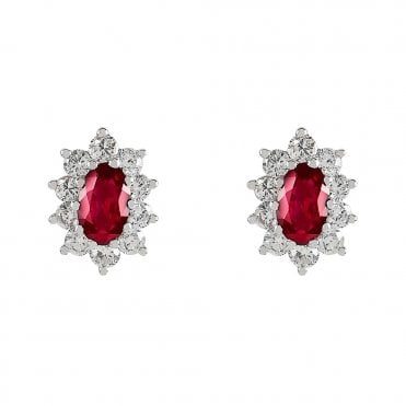 18ct White Gold Oval Ruby & Claw Set Diamond Surround Earrings