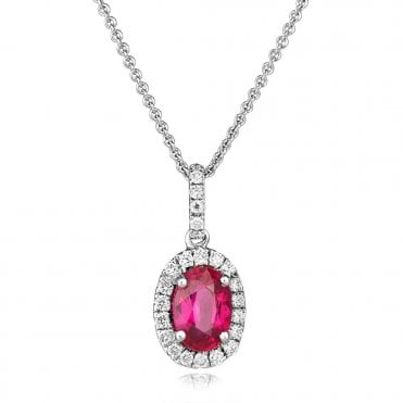 18ct White Gold Oval Ruby & Diamond Cluster Pendant