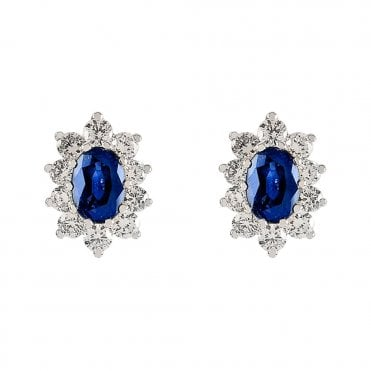 18ct White Gold Oval Sapphire & Claw Set Diamond Surround Earrings