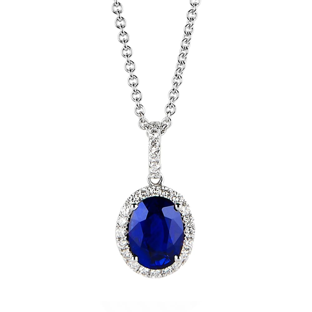 18ct White Gold Oval Sapphire & Diamond Pendant Necklace